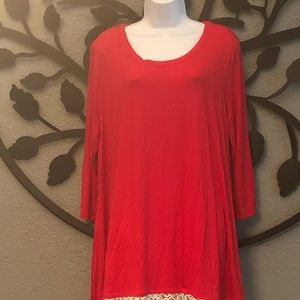 Plus size 3/4 length sleeve red tunic/ lace trim
